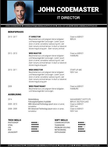 bewerbung muster 2 - Lebenslauf Vorlage 2013