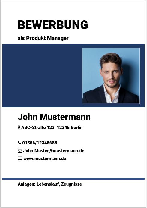 Deckblatt Für Bewerbungen Kostenlose Vorlage Professionelles Design
